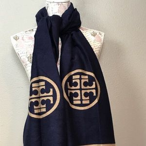 Tory Burch reversible blue and tan fashion scarf